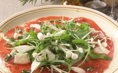 Carpaccio med Rucola salat, Enoki svampe og italiensk pecorino ost